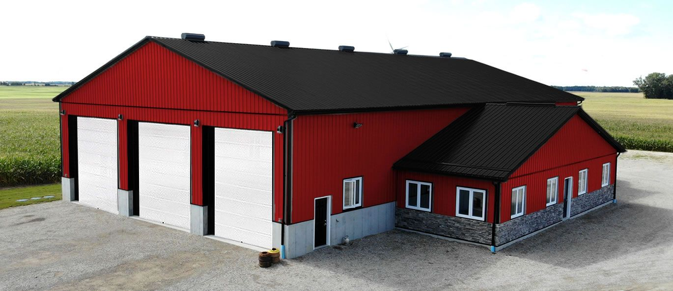 roof: midnight black - siding: red - doors: white