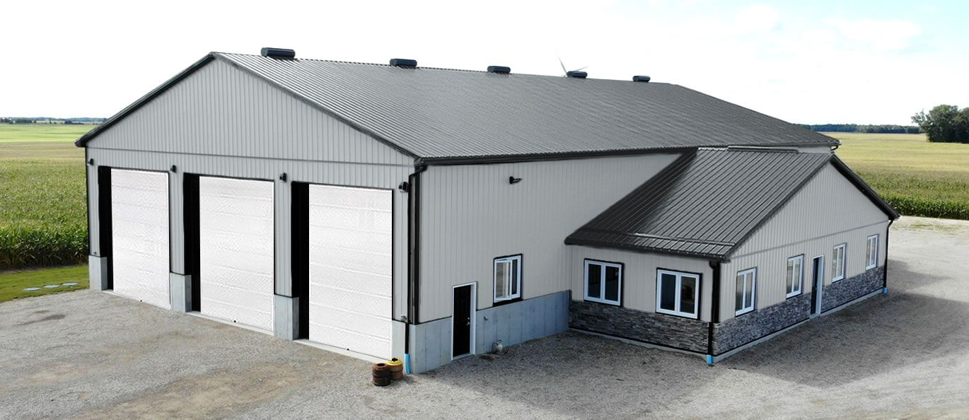 roof: charcoal - siding: grey - doors: white